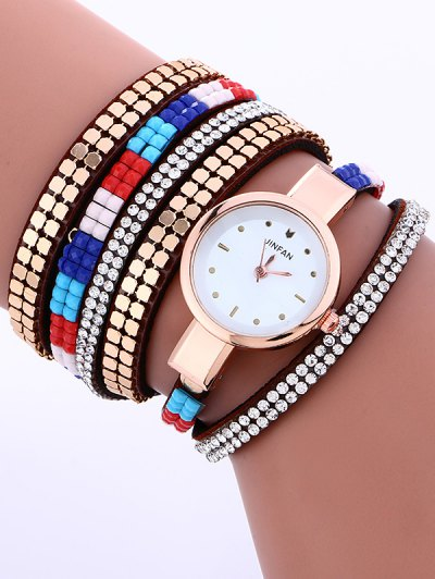 Layered Studded Bracelet Watch - BROWN  Mobile