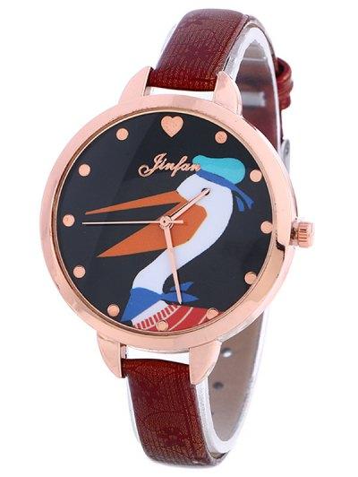 Faux Leather Swan Quartz Watch - BURGUNDY  Mobile