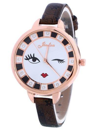 Rhinestone Cartoon Quartz Watch - BLACK  Mobile