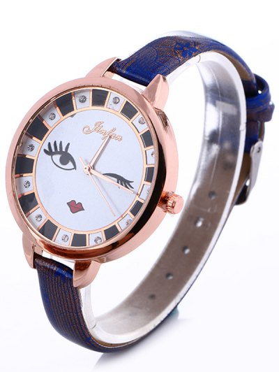 Rhinestone Cartoon Quartz Watch - BLUE  Mobile
