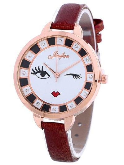 Rhinestone Cartoon Quartz Watch - WINE RED  Mobile