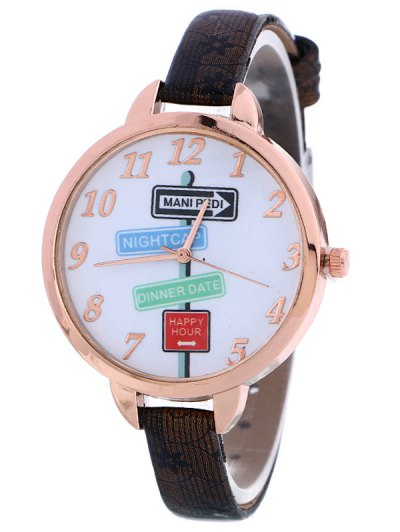 Faux Leather Guidepost Pattern Quartz Watch - BLACK  Mobile
