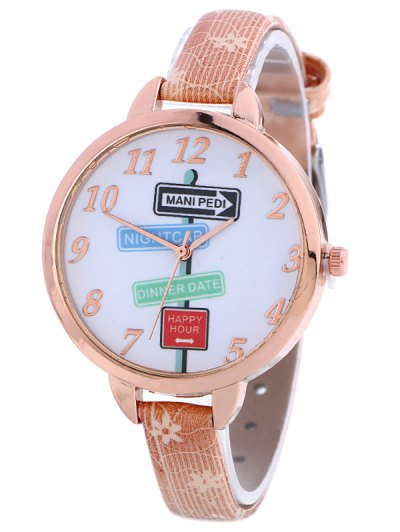 Faux Leather Guidepost Pattern Quartz Watch - PINK  Mobile