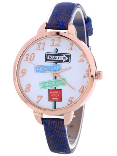 Faux Leather Guidepost Pattern Quartz Watch - BLUE  Mobile