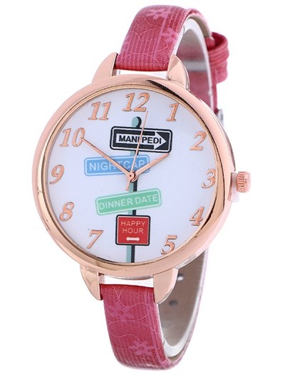 Faux Leather Guidepost Pattern Quartz Watch - TUTTI FRUTTI  Mobile