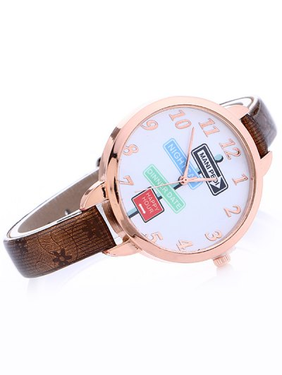 Faux Leather Guidepost Pattern Quartz Watch - BROWN  Mobile