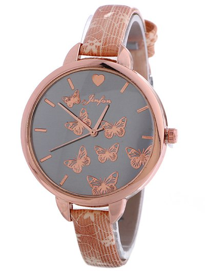 Faux Leather Butterfly Quartz Watch - PINK  Mobile