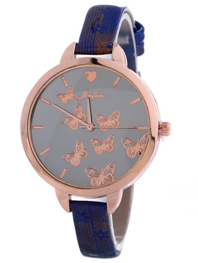 Faux Leather Butterfly Quartz Watch - BLUE  Mobile