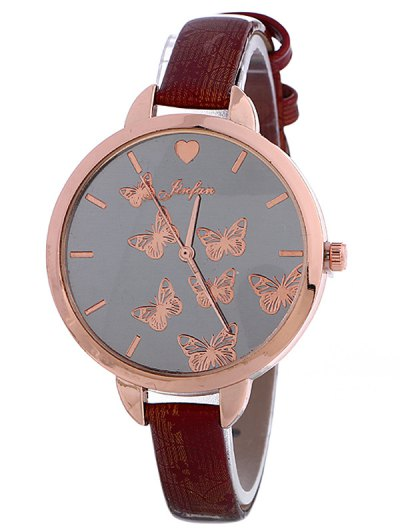 Faux Leather Butterfly Quartz Watch - WINE RED  Mobile