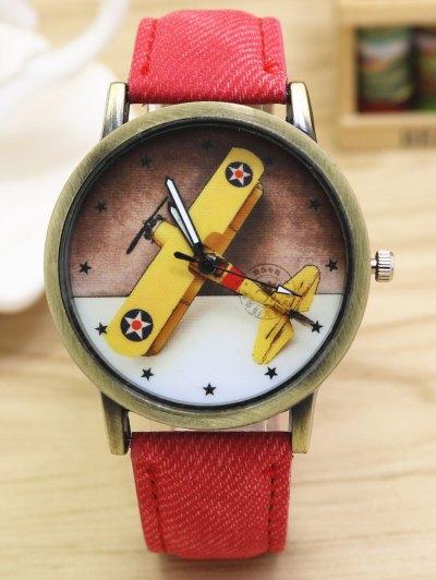 Cartoon Airplane Quartz Watch - RED  Mobile