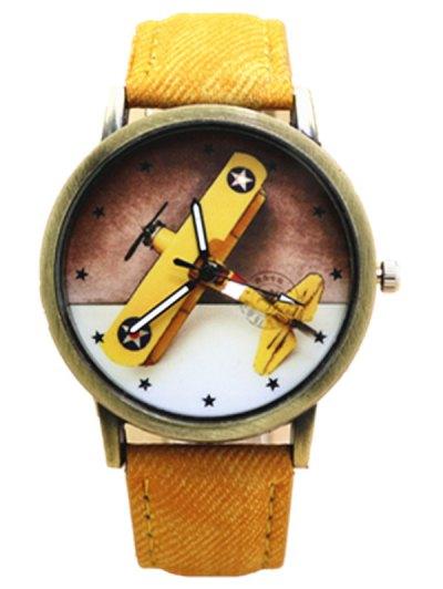 Cartoon Airplane Quartz Watch - YELLOW  Mobile