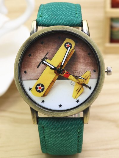 Cartoon Airplane Quartz Watch - GREEN  Mobile