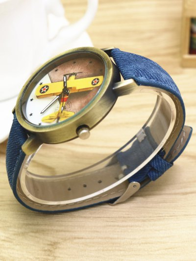Cartoon Airplane Quartz Watch - BLUE  Mobile