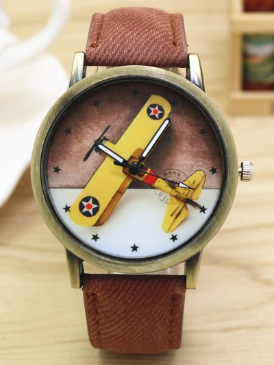 Cartoon Airplane Quartz Watch - COFFEE  Mobile