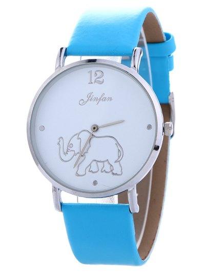 Faux Leather Elephant Quartz Watch - BLUE  Mobile