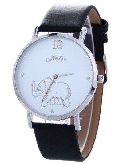 Faux Leather Elephant Quartz Watch - BLACK  Mobile