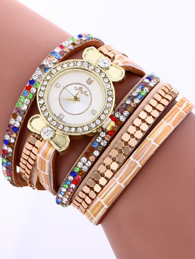 Layered Studded Analog Bracelet Watch - COFFEE  Mobile