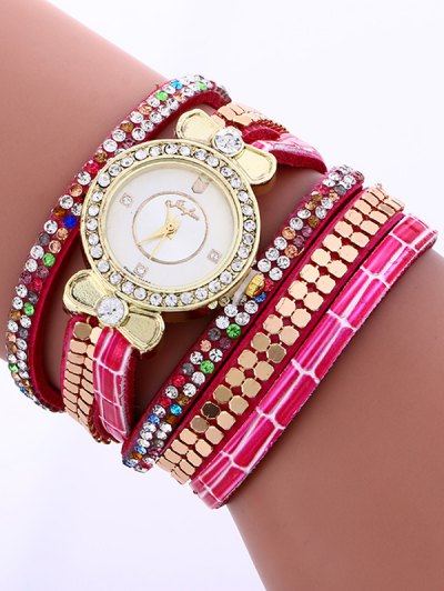 Layered Studded Analog Bracelet Watch - TUTTI FRUTTI  Mobile