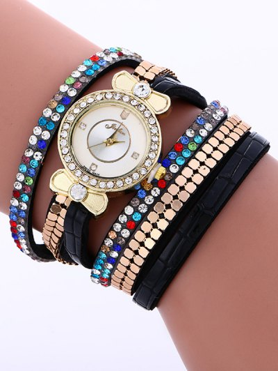 Layered Studded Analog Bracelet Watch - BLACK  Mobile