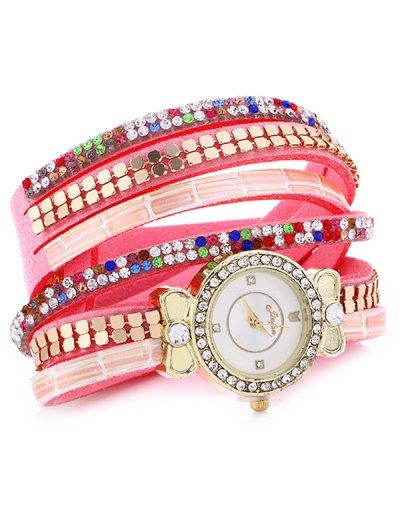 Layered Studded Analog Bracelet Watch - PINK  Mobile