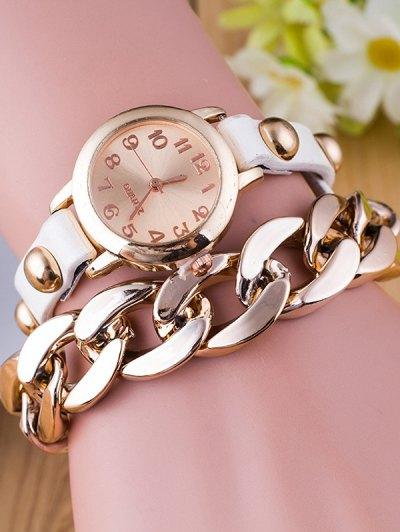 Chain Quartz Bracelet Watch - WHITE  Mobile