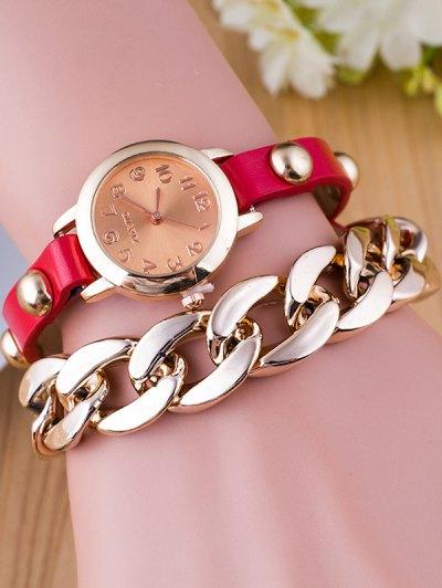 Chain Quartz Bracelet Watch - RED  Mobile