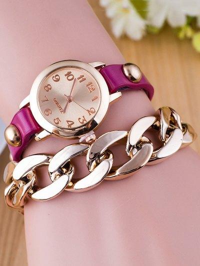 Chain Quartz Bracelet Watch - PURPLE  Mobile