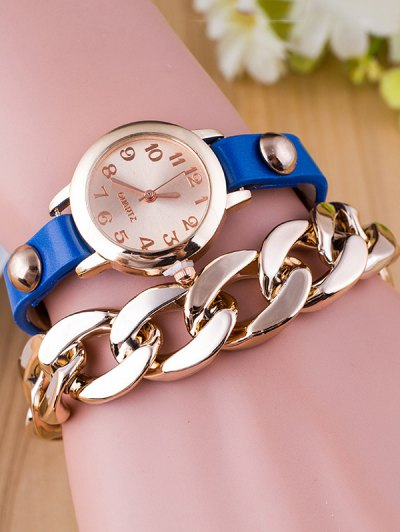 Chain Quartz Bracelet Watch - BLUE  Mobile