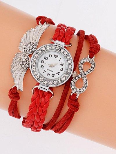 Layered Braided Quartz Bracelet Watch - RED  Mobile