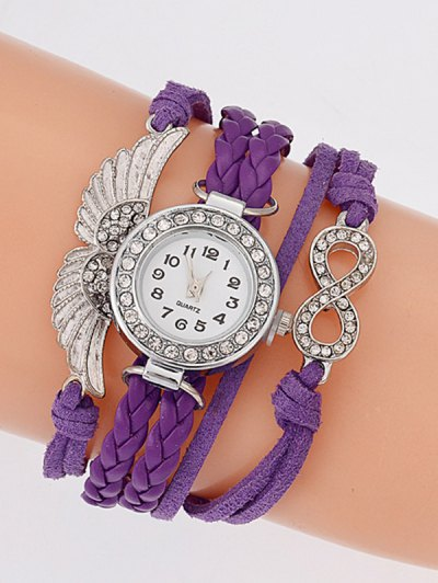 Layered Braided Quartz Bracelet Watch - PURPLE  Mobile