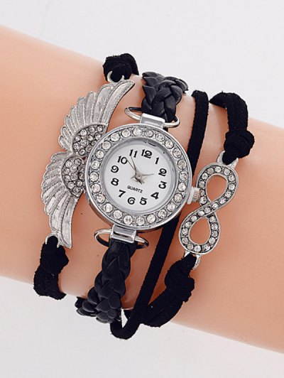 Layered Braided Quartz Bracelet Watch - BLACK  Mobile