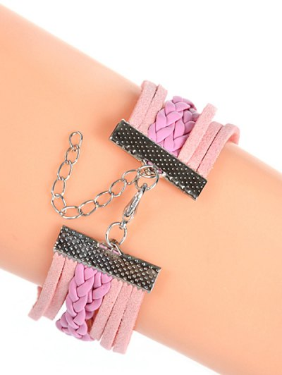 Layered Braided Quartz Bracelet Watch - PINK  Mobile