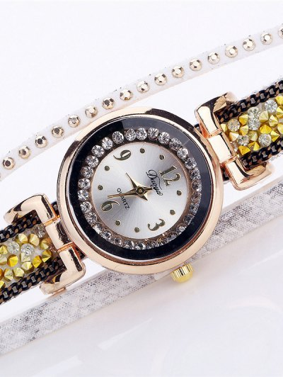 Layered Studded Faux Fur Bracelet Watch - WHITE  Mobile