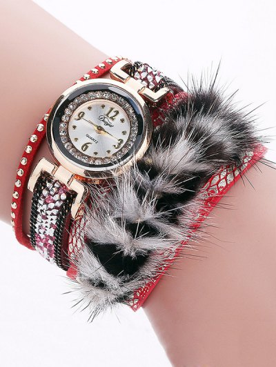 Layered Studded Faux Fur Bracelet Watch - RED  Mobile