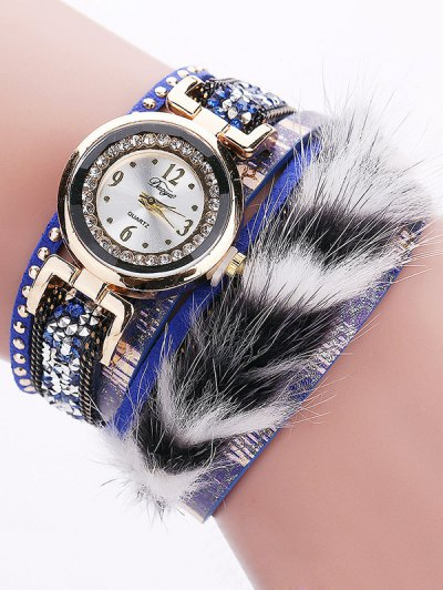 Layered Studded Faux Fur Bracelet Watch - BLUE  Mobile
