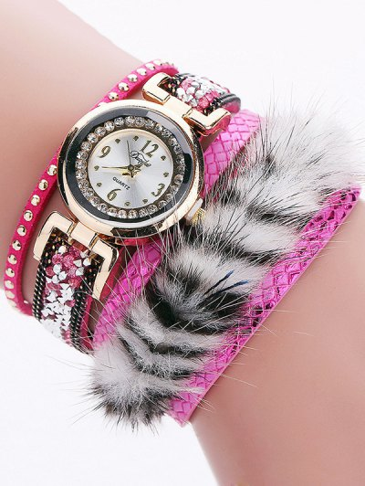 Layered Studded Faux Fur Bracelet Watch - TUTTI FRUTTI  Mobile
