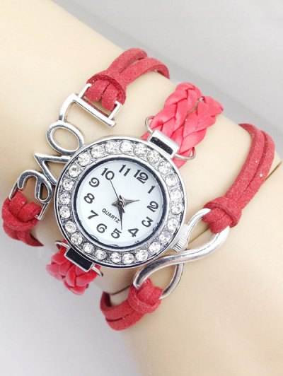 Love Braided Quartz Bracelet Watch - RED  Mobile