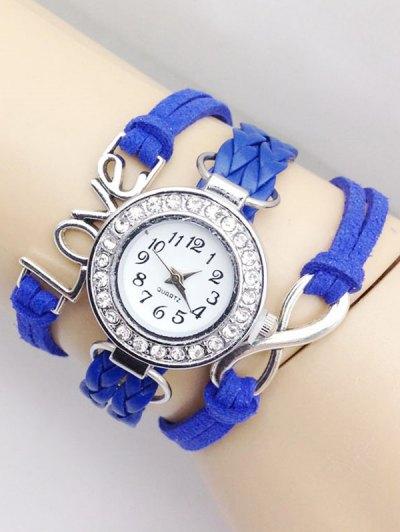 Love Braided Quartz Bracelet Watch - BLUE  Mobile