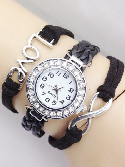 Love Braided Quartz Bracelet Watch - BLACK  Mobile