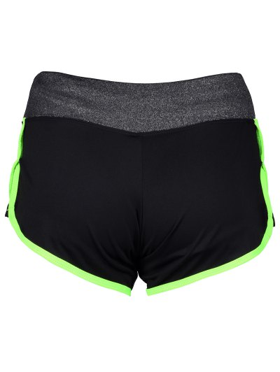 Elastic Piped Running Shorts - NEON GREEN L Mobile