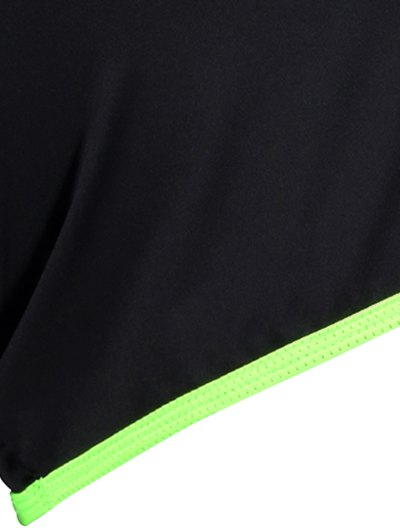 Elastic Piped Running Shorts - NEON GREEN M Mobile