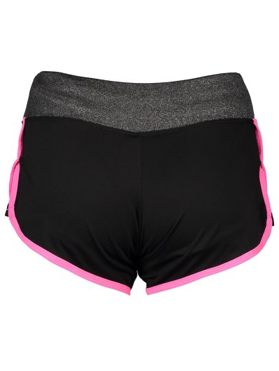 Elastic Piped Running Shorts - ROSE RED M Mobile