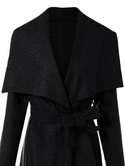Belted Midi Wrap Coat - BLACK XL Mobile
