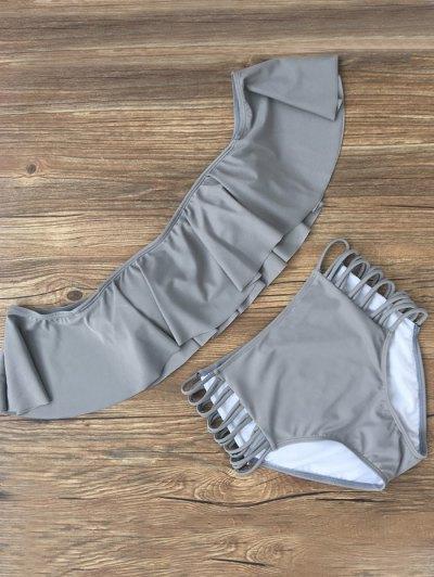 Flounced Off The Shoulder Bikini - GRAY L Mobile
