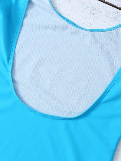 High Leg U Neck Swimsuit - LAKE BLUE XL Mobile