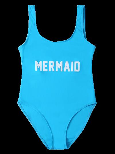 High Leg U Neck Swimsuit - LAKE BLUE L Mobile
