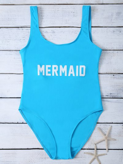 High Leg U Neck Swimsuit - LAKE BLUE M Mobile