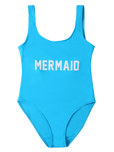 High Leg U Neck Swimsuit - LAKE BLUE S Mobile