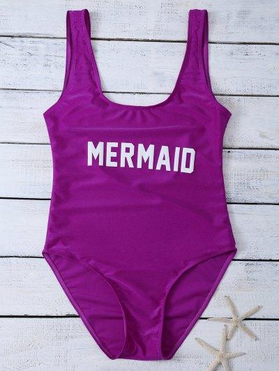 High Leg U Neck Swimsuit - PURPLISH RED M Mobile