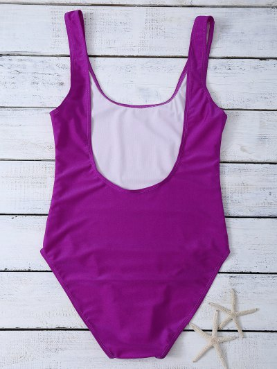 High Leg U Neck Swimsuit - PURPLISH RED S Mobile